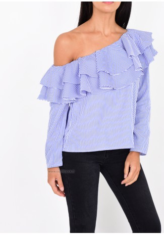 Asymmetric striped top with ruffles