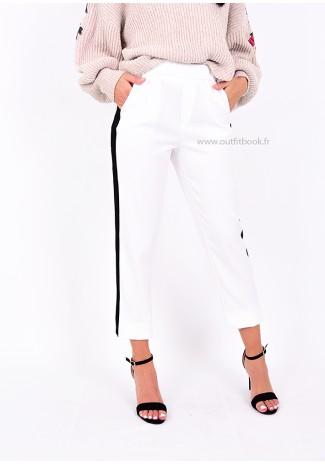 Pantalon blanc avec bande noire