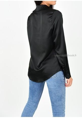 Chemise en satin noir avec broderie