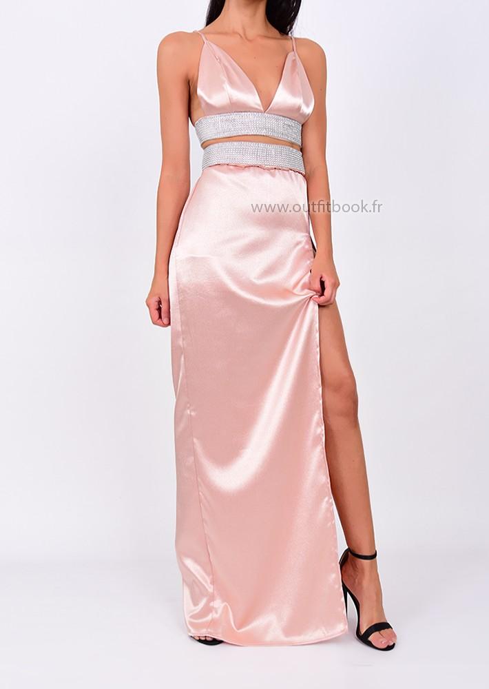 Ensemble top et jupe rose pâle avec strass
