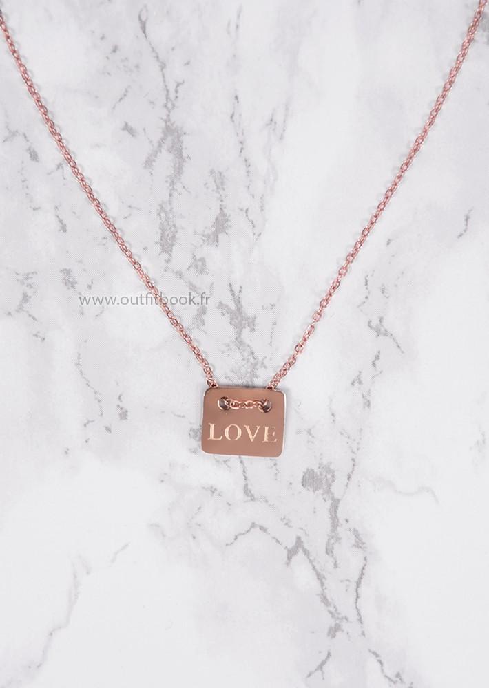 "Collier rose gold avec petite plaque ""love"""