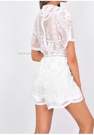 White Lace Trim Playsuit