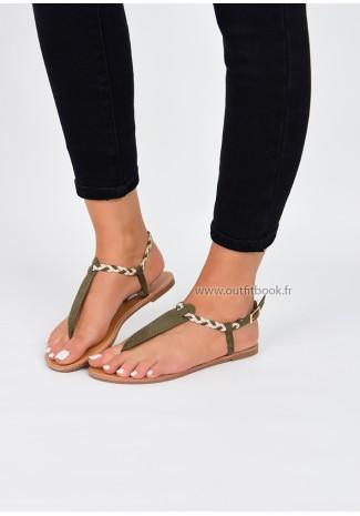 Khaki plaited suede effect flat sandals