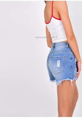 Short en jean avec perles