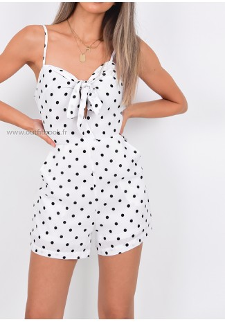 White Polka Dot Playsuit With Front Knot