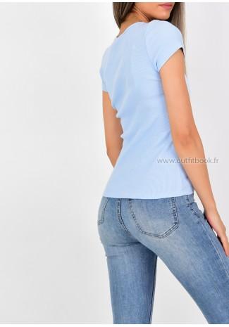 T-shirt côtelé bleu ciel