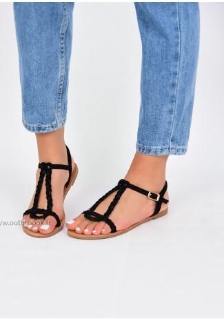 Black braided flat sandals