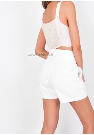 White Denim Belted Shorts