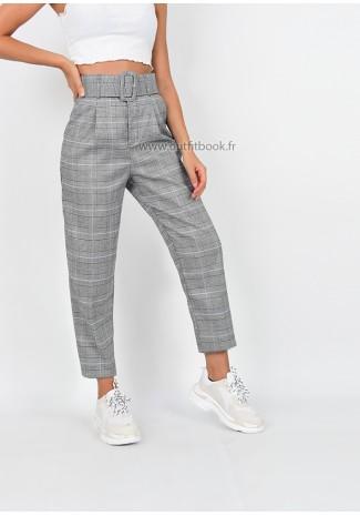 Pantalon taille haute à carreaux avec ceinture