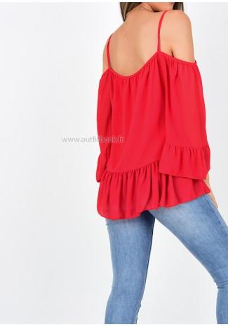 Top rouge à épaules dénudées