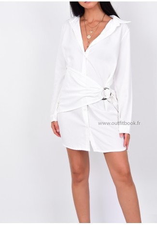 Robe chemise blanche avec boucle