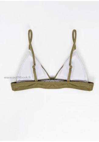 Bikini triangle côtelé kaki
