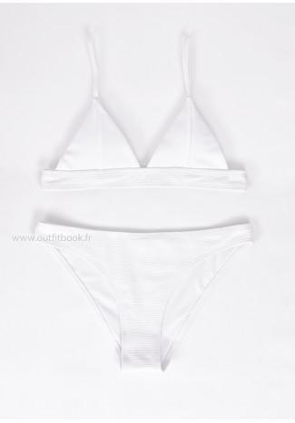 Bikini triangle côtelé blanc