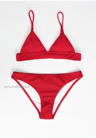 Bikini triangle côtelé rouge