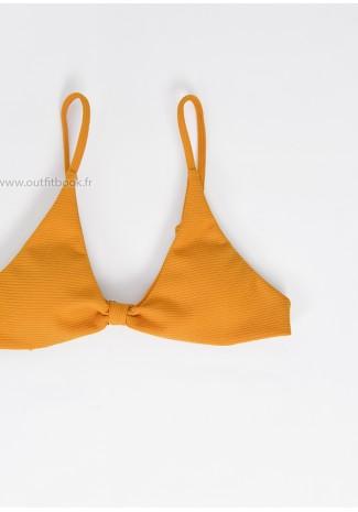 Bikini côtelé moutarde avec noeud