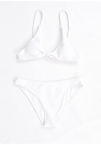 Bikini côtelé blanc avec noeud