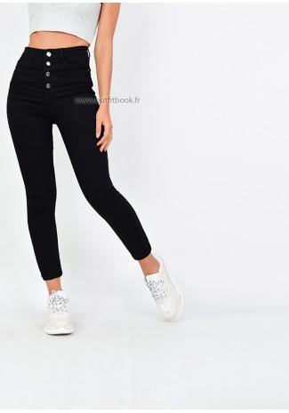 Jean skinny taille haute noir avec boutons