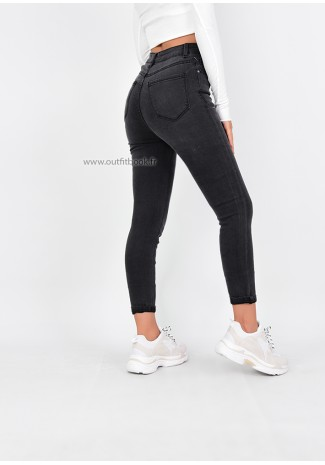Jean skinny taille haute gris avec boutons
