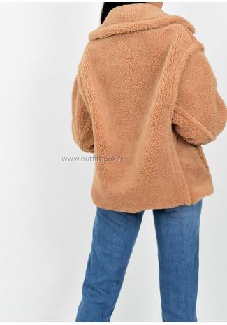 Manteau camel effet peau de mouton