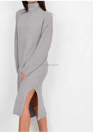 Petite - Robe pull mi longue fendue sur les côtés grise