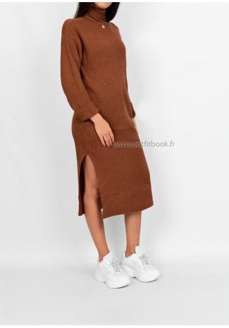 Petite - Robe pull mi longue fendue sur les côtés camel