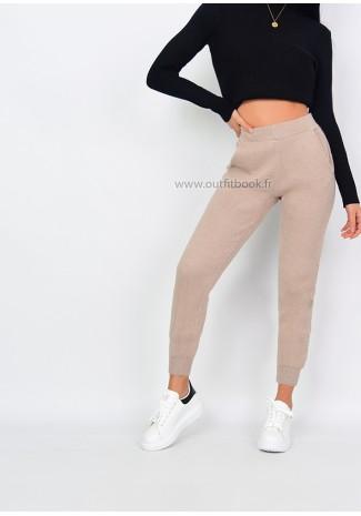 Petite- Pantalon en maille beige