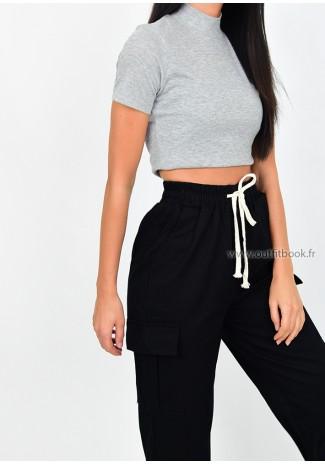 Black cargo trouser with drawstring hem