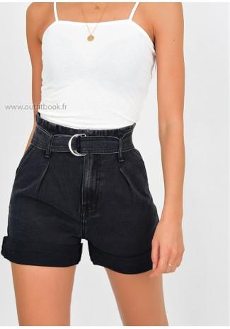 Belted Paperbag Denim Short In Black