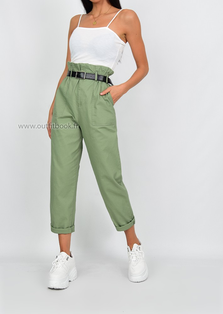Pantalon cargo kaki avec ceinture