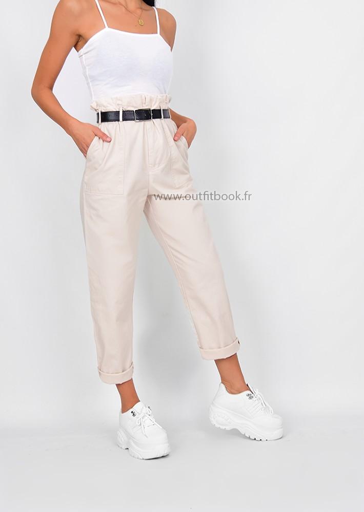 Pantalon paperbag beige avec ceinture