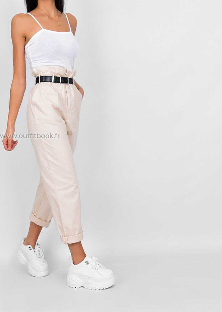Belted Paperbag Trouser In Beige With Belt Outfitbook