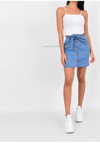 Jupe en jean avec boutons et ceinture