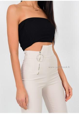 Pantalon taille haute noir avec zip