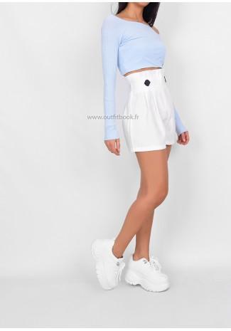Short blanc à taille haute froncé