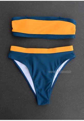 Ensemble bikini bleu et orange