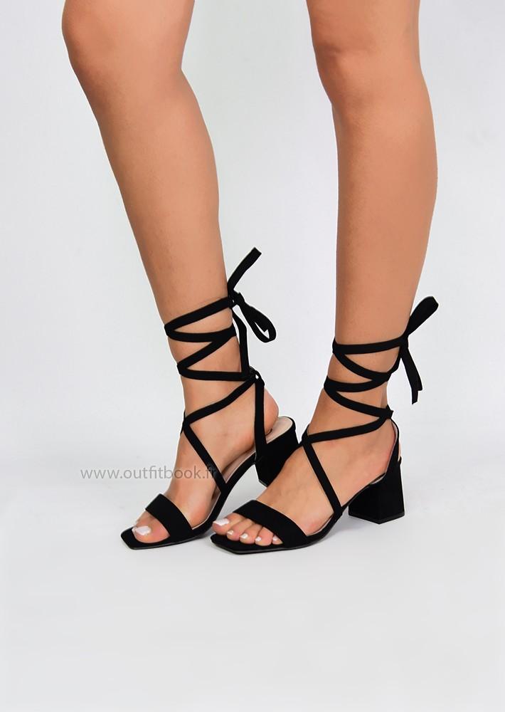 Sandales à talon carré noir effet daim