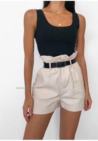 Beige paperbag shorts with belt
