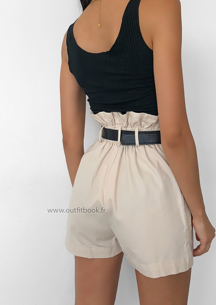 Short paperbag beige avec ceinture