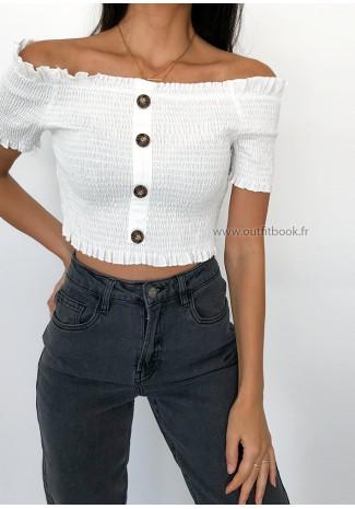 Top plissé blanc avec boutons et épaules dénudées