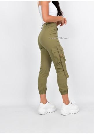 Pantalon cargo taille haute kaki slim fit