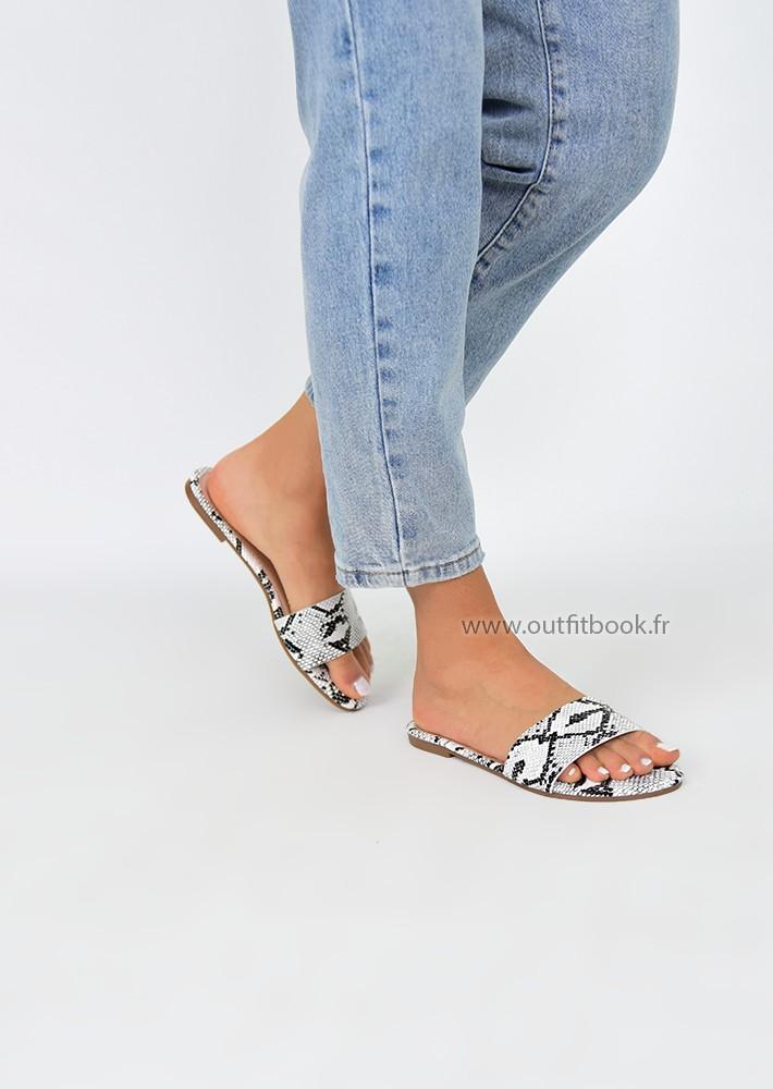 Sandales plates imprimée serpent
