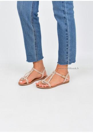 Sandales plates tréssées beige