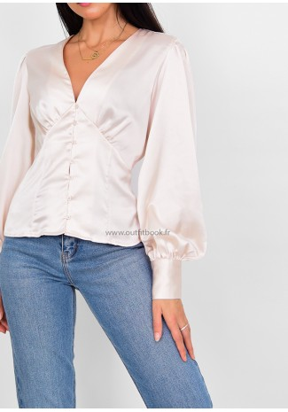 Beige satin blouse with button up