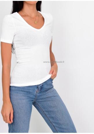 T-shirt côtelé blanc à col V