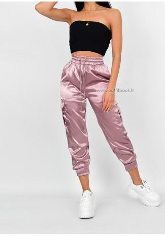 Pantalon cargo en satin rose