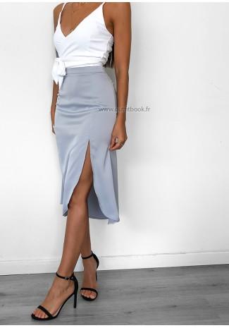 Satin midi skirt with side split in blue