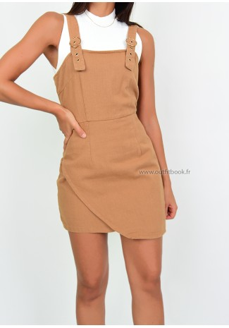 Dungaree dress in camel