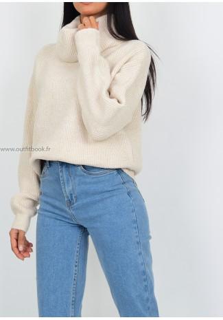 Knitted roll neck jumper in beige