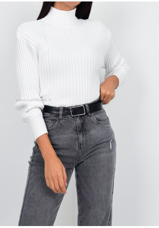 Ribbed high neck jumper in white