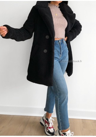 Manteau teddy mi long noir